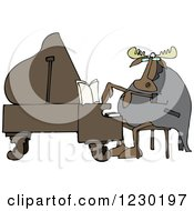 Clipart Of A Pianist Moose Playing Music Royalty Free Vector Illustration by djart