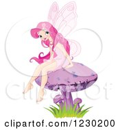 Clipart Of A Happy Pink Haired Fairy Sitting On A Mushroom Royalty Free Vector Illustration