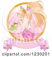 Fairy Tale Princess Kissing A Frog Prince In A Pink Ray Circle With A Banner