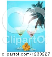 Clipart Of Martinis With A Hibiscus And Palm Tree Over A Blue Sky Royalty Free Vector Illustration by elaineitalia