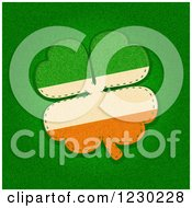 Clipart Of A Textured Sewn St Patricks Day Irish Flag Shamrock Royalty Free Vector Illustration