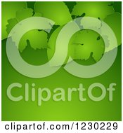 Clipart Of A Green Paper Leaves And Background With Text Space Royalty Free Vector Illustration