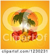 Clipart Of A Tropical Ocean Sunset With Palm Trees And Hibiscus Flowers On Orange Royalty Free Vector Illustration by elaineitalia