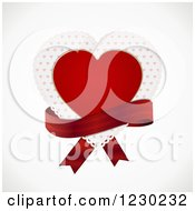 Clipart Of A Red Heart And Doily With A Ribbon On Off White Royalty Free Vector Illustration