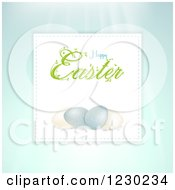 Clipart Of A Happy Easter Greeting Over Speckled Eggs On Pastel Blue Royalty Free Vector Illustration