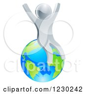 Clipart Of A 3d Silver Man Cheering And Sitting On Earth Royalty Free Vector Illustration