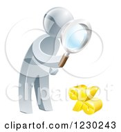 Clipart Of A 3d Silver Man Peering Through A Magnifying Glass At A Percent Symbol Royalty Free Vector Illustration