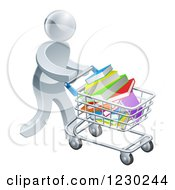 Clipart Of A 3d Silver Man Pushing A Shopping Cart Full Of Books Royalty Free Vector Illustration
