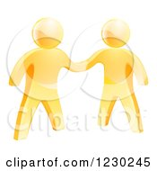 Clipart Of 3d Gold Men Shaking Hands Royalty Free Vector Illustration