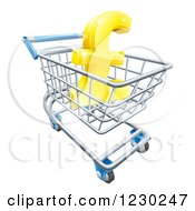 Clipart Of A 3d Golden Lira Pound Symbol In A Shopping Cart Royalty Free Vector Illustration