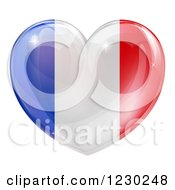 Clipart Of A 3d Reflective French Flag Heart Royalty Free Vector Illustration