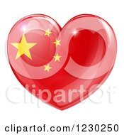 Clipart Of A 3d Reflective Chinese Flag Heart Royalty Free Vector Illustration