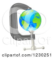 Clipart Of A 3d Earth In A Tight Clamp Royalty Free Vector Illustration