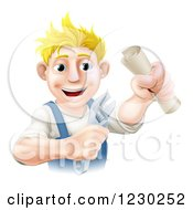 Clipart Of A Happy Worker Man Holding A Spanner Wrench And Degree Royalty Free Vector Illustration by AtStockIllustration