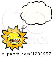 Clipart Of A Thinking Sun Royalty Free Vector Illustration by lineartestpilot