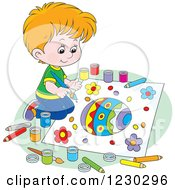 Clipart Of A White Boy Painting A Picture Of An Easter Egg Royalty Free Vector Illustration
