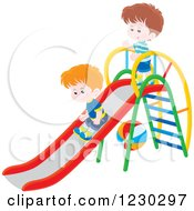 Clipart Of Boys Playing On A Slide Royalty Free Vector Illustration