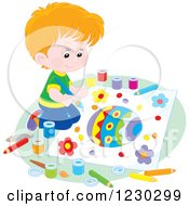 Clipart Of A Caucasian Boy Painting A Picture Of An Easter Egg Royalty Free Vector Illustration by Alex Bannykh