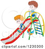 Clipart Of White Boys Playing On A Slide Royalty Free Vector Illustration