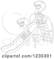 Clipart Of Black And White Boys Playing On A Slide Royalty Free Vector Illustration