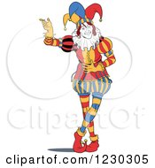 Clipart Of A Standing Presenting Joker Royalty Free Vector Illustration
