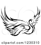 Clipart Of A Black And White Tribal Swan Tattoo Design Royalty Free Vector Illustration
