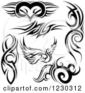 Clipart Of A Black And White Tribal Winged Heart Swan And Tattoo Designs Royalty Free Vector Illustration