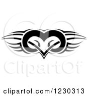 Clipart Of A Black And White Tribal Winged Heart Tattoo Design Royalty Free Vector Illustration