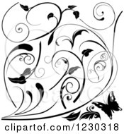 Clipart Of A Butterfly And Black And White Floral Scroll Designs Royalty Free Vector Illustration