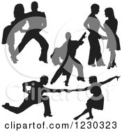 Clipart Of A Black Silhouetted Latin Dance Couples 9 Royalty Free Vector Illustration