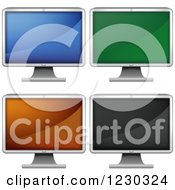 Clipart Of Lcd Monitors With Different Screen Colors Royalty Free Vector Illustration