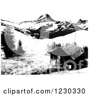 Clipart Of A Black And White Cabin In The Mountains Royalty Free Vector Illustration by dero
