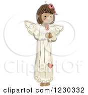 Clipart Of A Christmas Angel Girl Royalty Free Vector Illustration