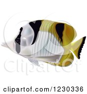 Clipart Of A Black Wedged Butterflyfish Royalty Free Vector Illustration