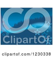 Clipart Of A Blue Christmas Background With Stars And Trees On A Hill Royalty Free Vector Illustration