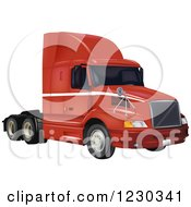 Clipart Of A Red Volvo 3610 Big Rig Truck Royalty Free Vector Illustration