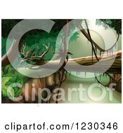 Clipart Of A Fallen Tree In A Jungle Landscape Royalty Free Vector Illustration