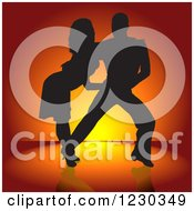Clipart Of A Silhouetted Latin Dance Couple Over Orange Royalty Free Vector Illustration
