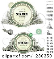 Clipart Of Money Themed Labels And Numbers With Sample Text Royalty Free Vector Illustration