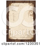 Clipart Of A Distressed Aged Posted Paper Over Wood Royalty Free Vector Illustration
