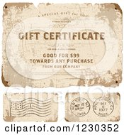 Clipart Of A Distressed Gift Certificate And Postmarks With Sample Text Royalty Free Vector Illustration by BestVector