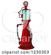 Clipart Of A Red Old Fashioned Gas Pump Royalty Free Illustration by djart