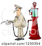 Clipart Of A Male Attendant By An Old Fashioned Gas Pump Royalty Free Illustration