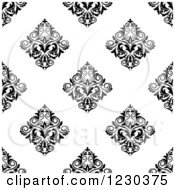 Clipart Of A Seamless Black And White Arabesque Damask Background Pattern 8 Royalty Free Vector Illustration