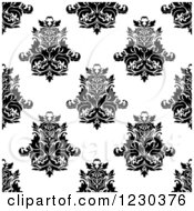 Clipart Of A Seamless Black And White Arabesque Damask Background Pattern 5 Royalty Free Vector Illustration