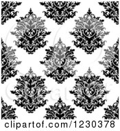 Clipart Of A Seamless Black And White Arabesque Damask Background Pattern 6 Royalty Free Vector Illustration