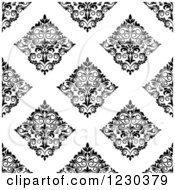 Clipart Of A Seamless Black And White Arabesque Damask Background Pattern 4 Royalty Free Vector Illustration