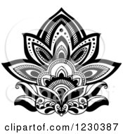 Clipart Of A Black And White Henna Lotus Flower 3 Royalty Free Vector Illustration