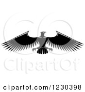 Clipart Of A Black And White Heraldic Eagle 14 Royalty Free Vector Illustration