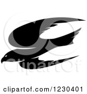 Clipart Of A Black Flying Hawk Royalty Free Vector Illustration